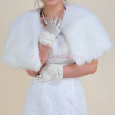 Ivory Girls Faux Fur Cape Wedding Dress Wrap Jacket Coat Bridal Shawl Bolero S-L