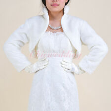 Ivory Faux Fur Wedding Party Dress Bolero Jacket Evening Bridal Wrap Shrug S-L