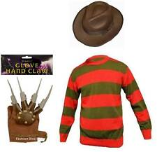 Halloween Children's Freddy Krueger Costume Includes Jumper Hat and Claw Glove