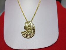 14 KT GOLD PLATED EGYPTIAN CLEOPATRA CHARM &  ROPE CHAIN  SET-2173
