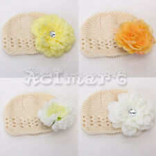 Set Handmade Beige Beanie Crochet Cap Hat + 1 Hair Flower Clip for Baby Toddler