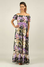 ANMOL / KUSHI Floaty Tropical Print Maxi Dress PURPLE FLORAL Print Szs 10 to 18