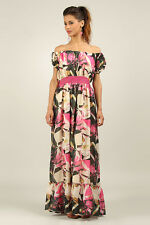 ANMOL / KUSHI Floaty Tropical Print Maxi Dress PINK FLORAL Print Sizes 10 & 14