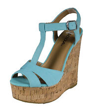 Path! By Soda Cute and Comfy T-Strap Platform Cork Wedge Sandals in Blue Cotton