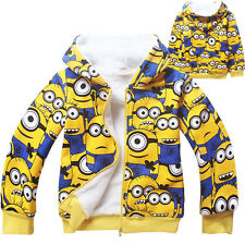 New Despicable Me Kids Boys Girls Winter Thick Zipper Hoodies Coat Jacket 4Y-9Y