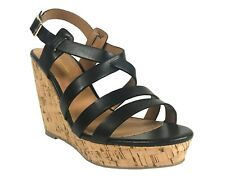 DANBURY! City Classified Womens 'Open Toe Strappy Platform Cork Wedge Sandals