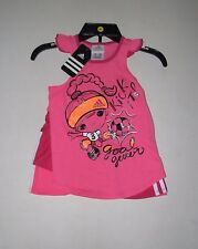 NWT Girls ADIDAS Bright Pink Sleeveless Shirt Ruffle Skort Outfit Set Sz 5 6 6X