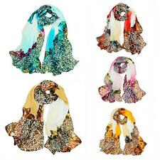 Women Lady Long Soft Chiffon Scarf Wrap Shawl Stole Flower Flora Scarves 9KF7