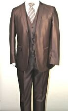 Slim Fit Men's Suit,3PC(Vested),Shiny Brown,2 Button Jacket&Flat-Front Pants.