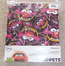 MENS STAR BLACK PURE COTTON ANIMAL THE MUPPETS LOUNGE PANTS PYJAMA BOTTOMS BNWT