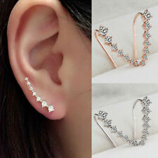 New Four-Prong Setting 7pcs CZ Crystal 18K GP Gold Silver Ear Hook Stud Earrings