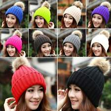 Fashion Lady Women Warm Winter Beret With Fur Ball Beanie Knitted Hat Cap ESY1