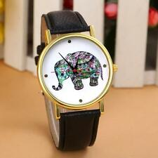 Unisex Women Watches Elephant Print Leather Watch Analog Quartz Wrist Watches