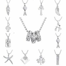 NEW Crystal Pendant Silver Charm Necklace Chain Women Wedding Jewelry Gifts