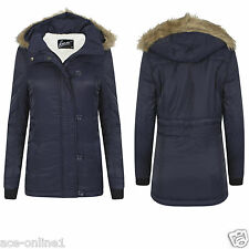 New Ladies Womens  Hooded Parka Fleece Winter Warm Jacket Coat Outwear