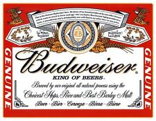 New Budweiser Label King of Beers Metal Tin Sign