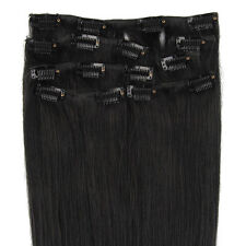 "15""-22"" Indian Straight Silky 7PCS Clip in Extension Remy Real Human Hair #1 HOT"