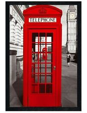 Black Wooden Framed Red Telephone Box Maxi Poster 61x91.5cm