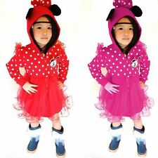 New!Kids Baby Girls Long Sleeve Dress Minnie Mickey Mouse Hoodie Coat Clothes