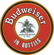 New Budweiser In Bottles Budweiser Logo Circular Metal Tin Sign