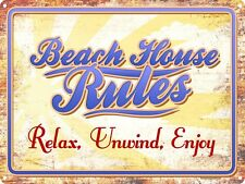 Beach House Rules Relax. Unwind. Enjoy. Tin Sign 40.7x30.5cm