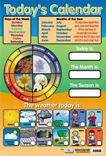 New Today's Calendar Educational Children's Chart Mini Poster