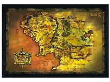 New Black Wooden Framed Lord Of The Rings Middle Earth Map Poster