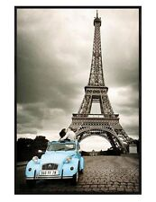 Paris Photography Gloss Black Framed Kissing Eiffel Tower Maxi Poster 61x91.5cm