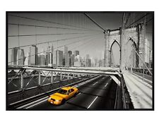 NYC Taxi Gloss Black Framed Yellow Cab Maxi Poster 91.5x61cm