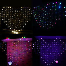 Romantic Heart Shape Curtains LED String Fairy Lights Christmas Party Wedding UK