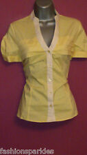 NEXT BNWT Yellow White Pleat Collarless Short Sleeve Blouse Shirt sizes 10 or 14