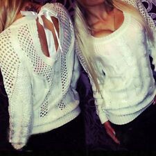 Women Long Sleeve Loose Knitted Sweater Winter Autumn Casual Knitwear Blouse New
