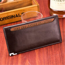 Fashion Men Women Lady Brown Leather Bifold Clutch Long Credit Card Purse Wallet