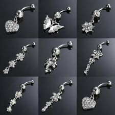 Stainless Steel Navel Belly Crystal Button Bar Ring Dangle Body Piercing Jewelry