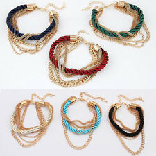 Lady Fashion Multilayer Twisted Woven Leather Metal Chain Bracelet Cuff Jewelry