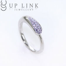 Swarovski Crystal Line Stone Bar Stick Row Shaped 925 Sterling Silver Women Ring