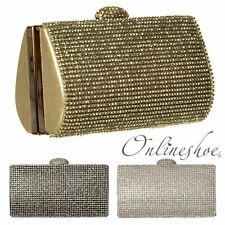 WOMENS LADIES DIAMANTE HARD CASE EVENING CLUTCH PROM HANDBAG GOLD SILVER BLACK