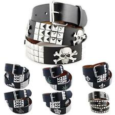 3-Row Metal Pyramid/Image Studded Leather Belt Unisex Womens Punk Rock Biker Emo