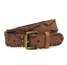 John Varvatos Star USA Belt Lace and Stud Chocolate Leather 4410304 $95 msrp NWT