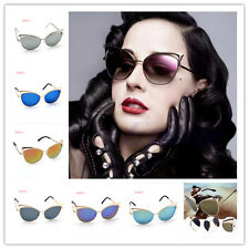 CoolWomen's Gold Retro Cat Eye Sunglasses Classic Designer Vintage Fashion Shade