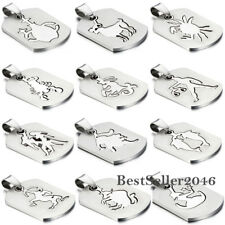 Lucky Zodiac Stainless Steel Constellation Dog Tag Mens Womens Pendant Necklace