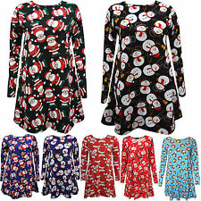 Ladies Womens/Girls Kids Xmas Santa Party Swing Flared Dress Christmas Tops Gift