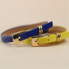 New Product Simple  Women Lady Girl Cortical Candy Color Waist Skinny Belt