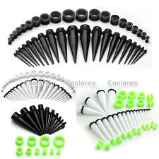 "20 Pair Punk 12g-5/8"" Acrylic O-Ring Taper Plugs Screw Ear Tunnel Stretcher Kit"