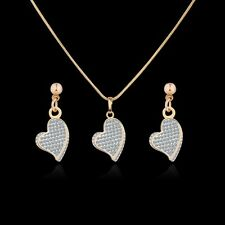 18K Multi-Tone Gold three-dimensional Simulated Diamond earring&pendant set 18''
