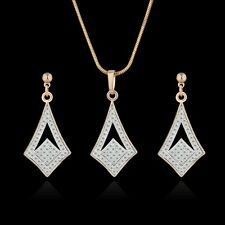 18K Multi-Tone Gold white diamond-shaped Simulated Diamond earring&pendant 18''