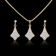 Retro 18K Multi-Tone Gold white Simulated Diamond Twincking earring&pendant 18''