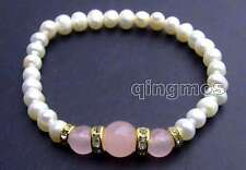 """SALE Beautiful! 6-7mm Natural white Pearl and pink Round jade 7.5"""" bracelet-b290"""