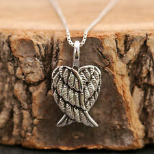 925 Sterling Silver Antiqued Guardian Angel Wings Pendant Chain Necklace w Box