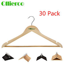 Ollieroo 30 Solid Wooden Wood Hangers Walnut Wood Clothes Coat Suit Dress Pant
